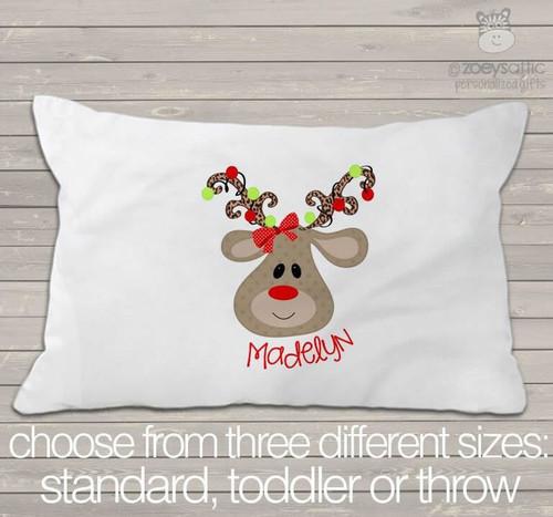 Christmas reindeer girl personalized pillowcase / pillow