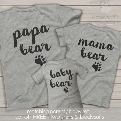 Papa mama baby bear matching THREE shirt gift set