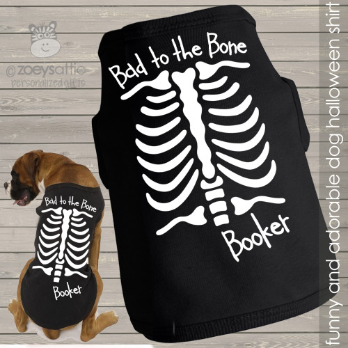 Halloween dog shirt skeleton personalized dog Tshirt