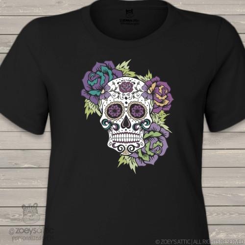 Sugar skull day of the dead DARK shirt