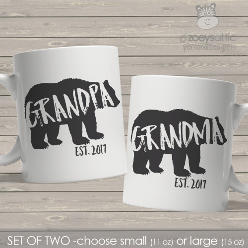 Grandpa and Grandma established bear coffee mug set of two