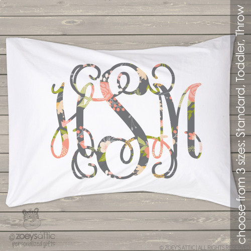 Floral monogram personalized pillowcase / pillow