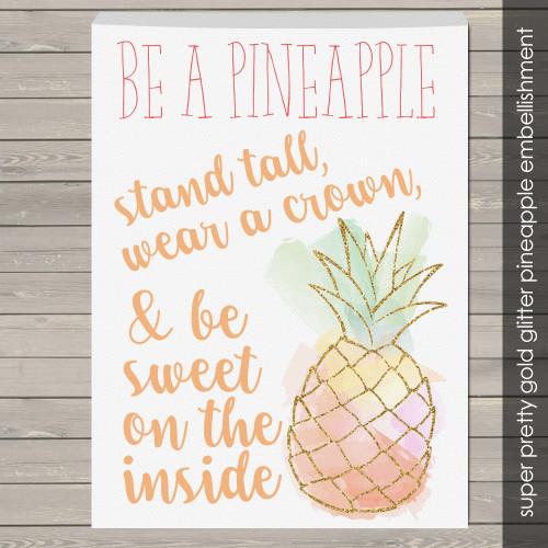 Be a pineapple glitter canvas wall art