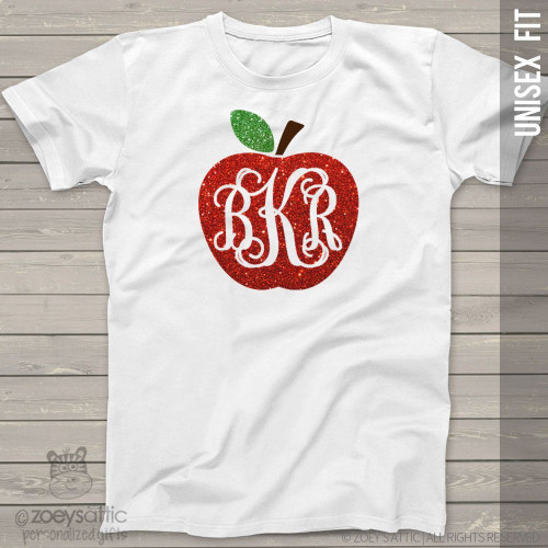 Apple monogram sparkly glitter ADULT Tshirt