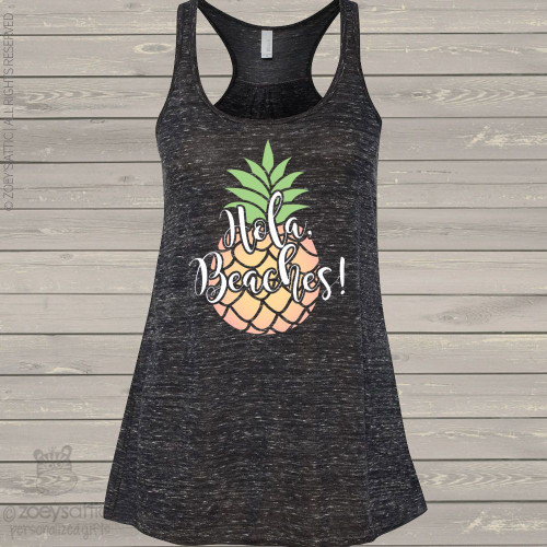 Hola beaches pineapple flowy tank top