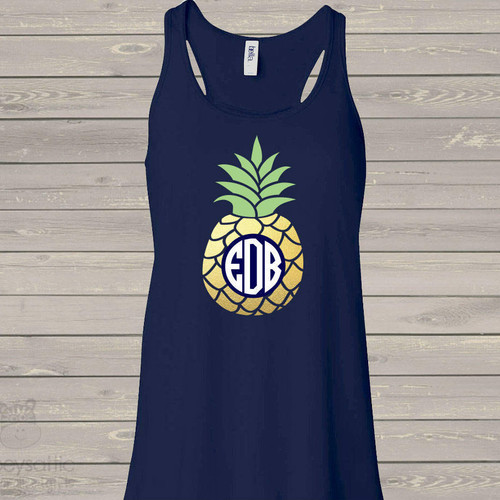 Monogram pineapple gold foil flowy tank top