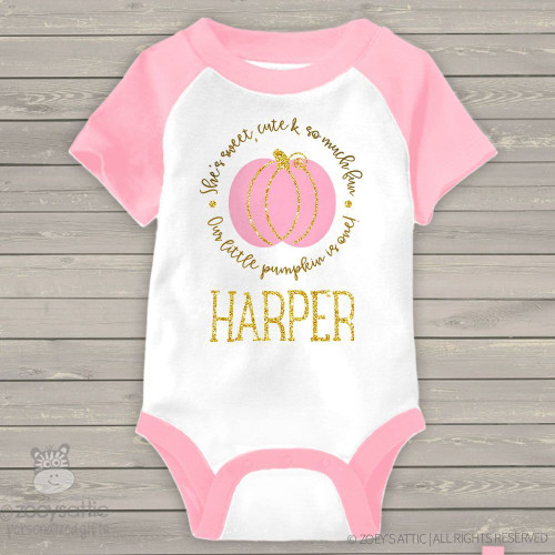 First birthday pink pumpkin gold glitter RAGLAN bodysuit