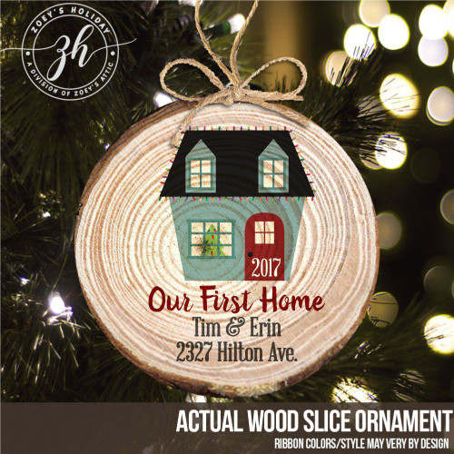 First home wood slice Christmas ornament
