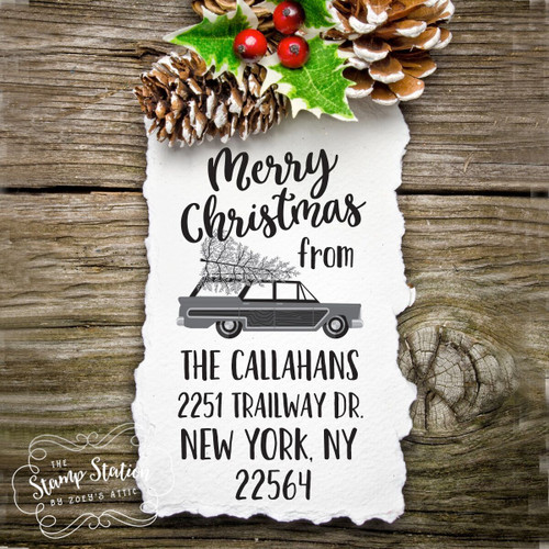 Retro Christmas station wagon tree vertical return address self inking stamp