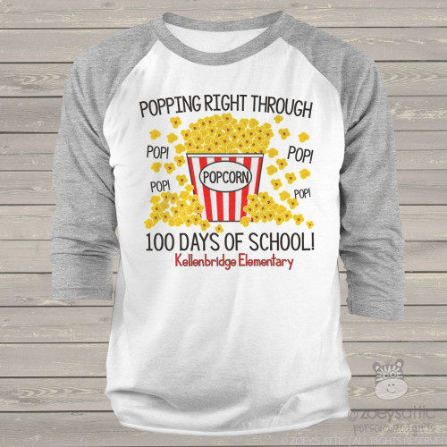 Teacher 100 days popcorn unisex adult raglan shirt