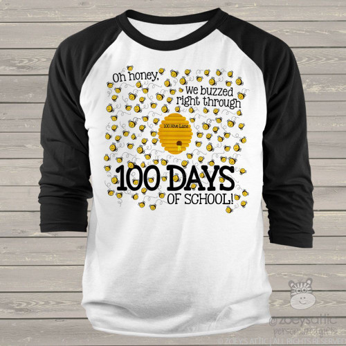 Teacher 100 days honey bee unisex adult raglan shirt