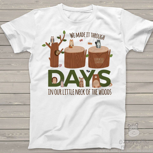 Teacher 100 days woodland animals Tshirt