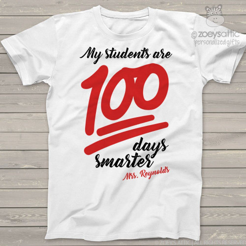 Teacher 100 days smarter emoji Tshirt