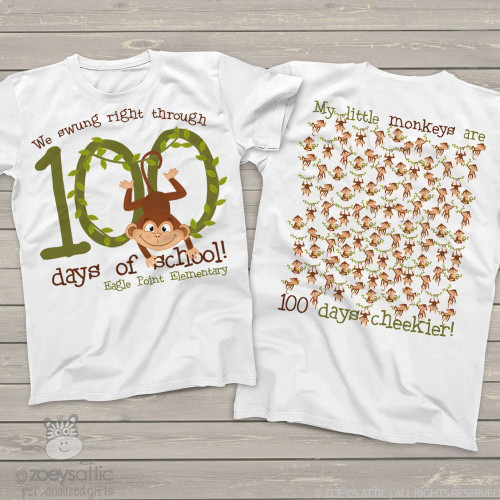 Teacher 100 days of school monkey Tshirt