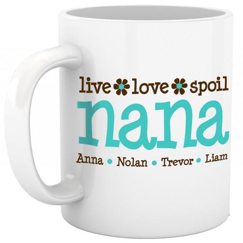 Coffee mug nana or grandma live love spoil personalized mug