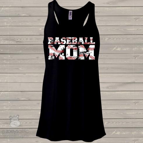 Womens Baseball Tank Top Distressed Lettering Baseball