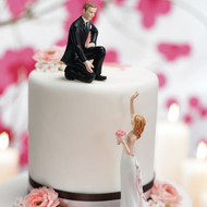 Reaching Bride and Helpful Groom Romantic Cake Topper Set
