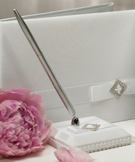 Pure Elegance in White Satin Wrapped Pen Set