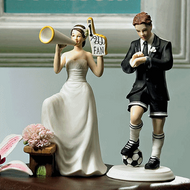 #1 Fan Cheering Bride and Soccer Groom Cake Topper Set