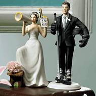 #1 Fan Cheering Bride and Hockey Groom Cake Topper Set