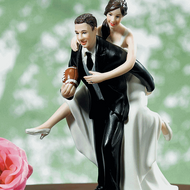 Playful Football Wedding Couple Topper