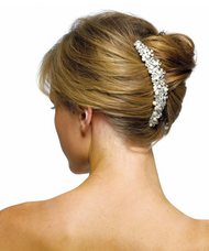 Ivory Pearls and Crystal Flowers Hair Comb