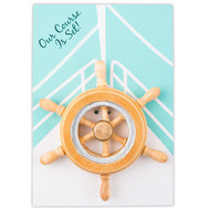 """Our Course is Set"" Boat Wheel Magnet Favor (Set of 6)"