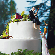 """Hooked on Love"" Bride and Groom Cake Topper Set"