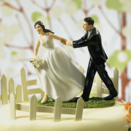 """A Race to the Altar"" Bride and Groom Cake Topper Set"