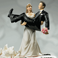 """To Have and to Hold"" Bride Holding Groom Cake Topper"