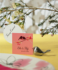 Love Bird Card Holders with Brushed Silver Finish (Set of 8)