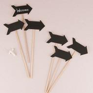 Wooden Chalkboard Stick in Directional Arrow Shape (Set of 6)