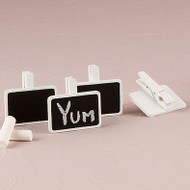 Miniature Rectangular Wooden Chalkboard Clip (Set of 24)