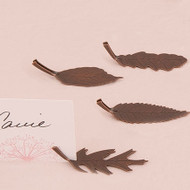 Metal Leaf-Shaped Card Holders with Bronze Finish (Set of 8)