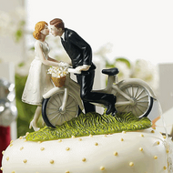 A Kiss Above Bicycle Romantic Couple Cake Topper