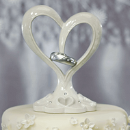 Stylized Heart and Wedding Bands Cake Topper