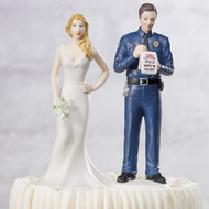A Love Citation Policeman Groom and Bride Cake Topper Set