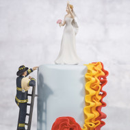 To the Rescue Fireman Groom and Bride Cake Topper Set