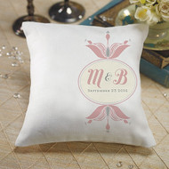 """Notable"" Personalized Ring Pillow with Floral Monogram"
