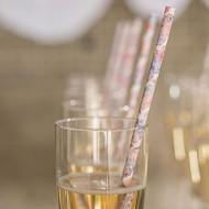 Vintage Floral Paper Drinking Straws (Set of 75)
