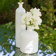 White Glass Decor Bottles (Set of 3)