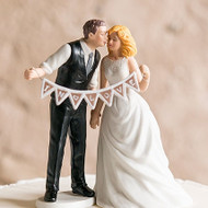 Shabby Chic Bride and Groom Cake Topper Set with Pennant Sign
