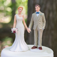 Woodland Rustic Bride & Groom Cake Topper