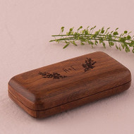 Natural Charm Personalized Pocket Size Wooden Wedding Ring Box with Garland Design