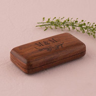 Natural Charm Personalized Pocket Size Wooden Wedding Ring Box with Garland Under Design