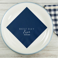 BEST DAY Ever (with Date) Personalized Wedding Napkins | Wedding Reception Napkins