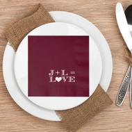 Initials = L{heart}VE Personalized Wedding Napkins | Wedding Reception Napkins