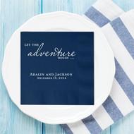Let the adventure Begin ... Personalized Wedding Napkins | Wedding Reception Napkins
