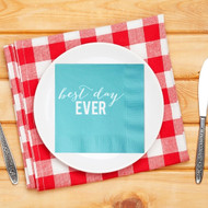 Rustic best day EVER Custom Wedding Napkins | Wedding Reception Napkins