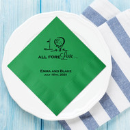 ALL FORE Love Personalized Wedding Napkins | Wedding Reception Napkins